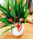 Pink tulips in a white vase royalty free illustration