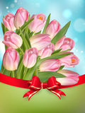 Pink Tulips With Bow. EPS 10 Stock Photos