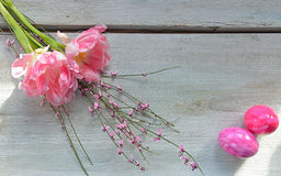 Pink tulips on wood background Royalty Free Stock Photos