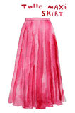 Pink tulle maxi skirt. Hand drawn watercolor illustration. Royalty Free Stock Photos