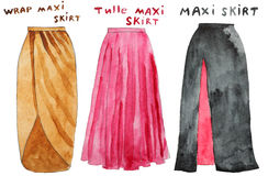 Pink tulle maxi skirt. Wrap yellow  . Hand drawn watercolor illustration. Stock Photo