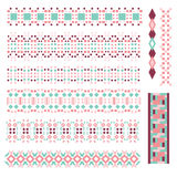 Pink and turquoise border or trim collection Royalty Free Stock Photos
