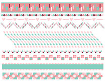 Pink and turquoise border or trim collection Stock Image