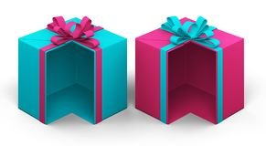 Pink and turquoise gift box in a cut. 3d rendering Royalty Free Stock Images