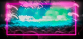 Pink and turquoise neon light frame with crowd at festival concert royalty free illustration
