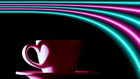 Pink and turquoise neon lights over a cup of coffee. royalty free illustration