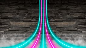 Pink and turquoise neon lights warped over a stone wall. royalty free stock photo