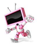 A Pink TV Character and a boxing play. Create 3D Television Robo Royalty Free Stock Images