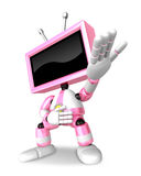 Pink TV character are kindly guidance. Create 3D Television Robo Stock Photos