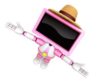 Pink TV robot flying towards the sky. Create 3D Television Robot Stock Images