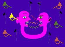 Pink two-headed person in communication contradiction. Pink interconnected heads in conflict - symbolic cartoon flat graphic Stock Photography