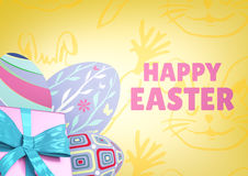 Pink type and pink gift and purple eggs against yellow easter pattern Stock Image