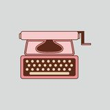 Pink typewriter. Isolated retro equipment for writers and journalists. Stock Photography