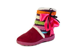 Pink ugg. With ribbon on a white background Royalty Free Stock Image
