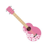 Pink ukulele isolated fine performance stringed folk guitar music art instrument and concert musical orchestra string Royalty Free Stock Image
