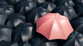 Pink umbrella between black umbrellas. Not like many. 3d rendering. Pink umbrella between black umbrellas. Not like many. 3 d rendering vector illustration