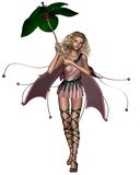 Pink Umbrella Fairy. Blonde fairy in a pink dress holding a leaf umbrella, 3d digitally rendered illustration Royalty Free Stock Photo