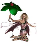 Pink Umbrella Fairy - 3. Blonde fairy in a pink dress holding a leaf umbrella, 3d digitally rendered illustration Royalty Free Stock Photography