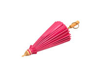 Pink umbrella handmade on white background Stock Photography