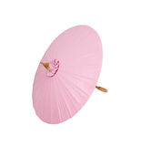 Pink umbrella handmade on white background, clipping path Royalty Free Stock Photography