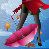 Pink Umbrella. Illustration with pink umbrella and part of woman body, dressed in red raincoat and stockings, against autumn rainy day Stock Photo