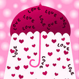 Pink umbrella raining hearts stock illustration