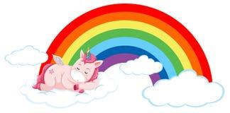 Pink unicorn on the cloud royalty free illustration