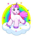 Pink unicorn on cloud and rainbow. Cheerful cartoon pink unicorn on the cloud with rainbow stock illustration