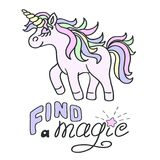 Pink unicorn and Find a magic lettering on the white background. Walking pink unicorn with yellow horn and Find a magic lettering on the white background Stock Photo