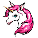 Pink unicorn. Head of cute white unicorn with pink mane isolated on white Royalty Free Stock Photo