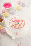 Unicorn hot chocolate. Pink unicorn hot chocolate with marshmallows and sprinkles stock image