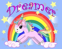 Unicorn vector illustration drawing with rainbow writing Dreamer. Unicorn's head cartoon, isolated on white background