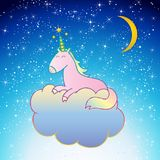 Pink Unicorn Vector sleeping on a cloud night scene sweet dreams. Pink Unicorn Vector illustration, cute hand drawn magic unicorn isolated on blue night sky with Stock Image