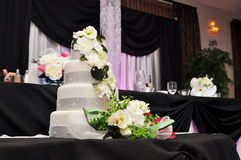 Wedding reception cake. Pink uplighting in ball room wedding reception venue with fondant white floral cake Royalty Free Stock Photography