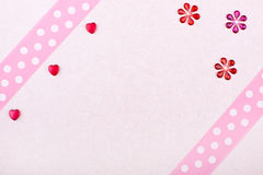 Pink valentine´s card with hearts and flowers Royalty Free Stock Photo
