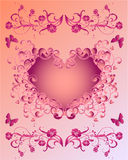 Pink Valentine. Vector of floral pink valentine with butterflies Stock Photography