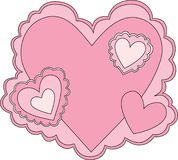 Pink Valentine. With multiple hearts vector illustration