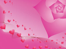 Pink valentine. Valentine day theme background image easily editable. composed of a heart made flower and background texture Royalty Free Stock Images