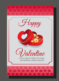 Pink valentine box. Card for valentine with chocolate box Royalty Free Stock Photos