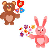 Pink Valentine Bunny and Brown Valentine Teddy Bear Illustrations. Heart balloons, valentine balloons, red heart, blue heart, pink heart, flower bouquet Stock Photo