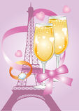 Pink valentine card with Eiffel Tower Stock Images