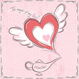 Pink valentine card with heart and magic lamp stock photos
