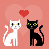 Pink Valentine cats background Stock Image
