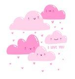 Pink valentine clouds. Raining hearts Stock Image