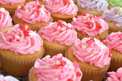 Pink Valentine Cupcakes with Sprinkles Royalty Free Stock Photo