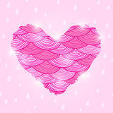 Pink Valentine Day Card with Wavy Heart Stock Photo