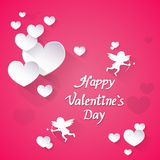 Pink Valentine Day Gift Card Holiday Love Heart Shape Angel Stock Photo