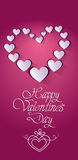 Pink Valentine Day Gift Card Holiday Love Heart Shape Stock Image