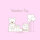 Pink Valentine Day Gift Card Holiday Love Heart Shape Present Toy Bear Royalty Free Stock Images