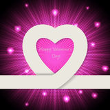 Pink valentine day greeting card with heart ribbon Stock Photo